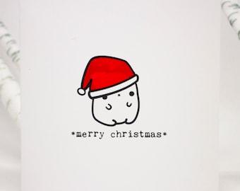 Merry Christmas card with cute Christmas bear