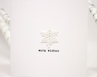 Warm wishes holiday card with crochet snowflake