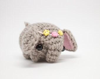 crochet elephant plush with flower crown - miniature amigurumi animal
