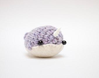 crochet narwhal plush toy - cute narwhal stuffed animal amigurumi