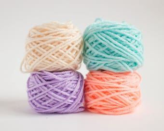 mini yarn balls set in candy colours - worsted weight acrylic yarn, 48 grams, 80 meters