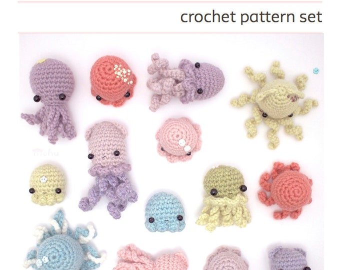 Featured listing image: crochet pattern - octopus, squid & jellyfish amigurumi pattern