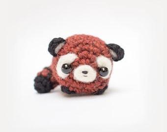 red panda plush toy - crochet amigurumi red panda keychain stuffed animal