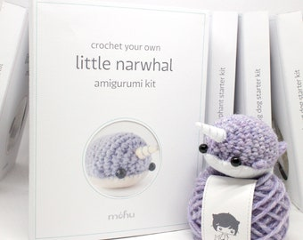 amigurumi kit - crochet narwhal craft kit