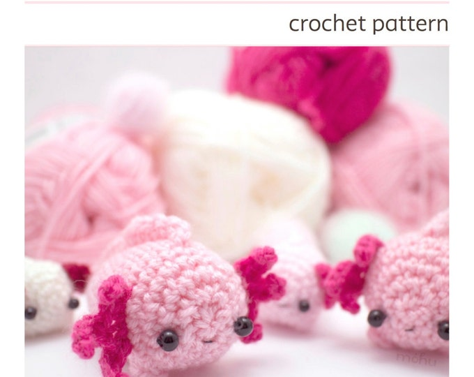 Featured listing image: crochet axolotl pattern - amigurumi animal pattern