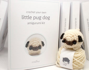 crochet kit - amigurumi pug dog craft kit