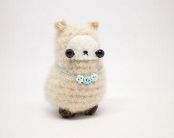 crochet llama plush toy - mini amigurumi animal with floral necklace
