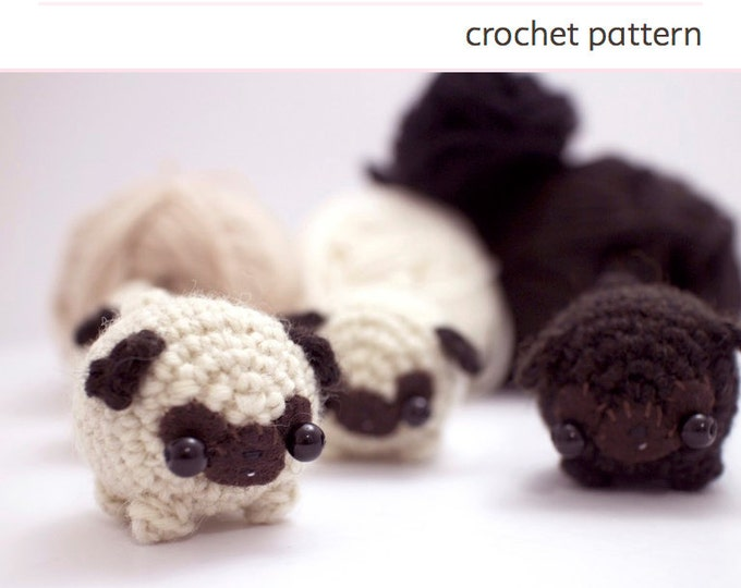Featured listing image: amigurumi pug crochet pattern - amigurumi dog pattern