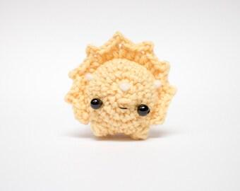 yellow triceratops amigurumi - crochet dinosaur plush toy