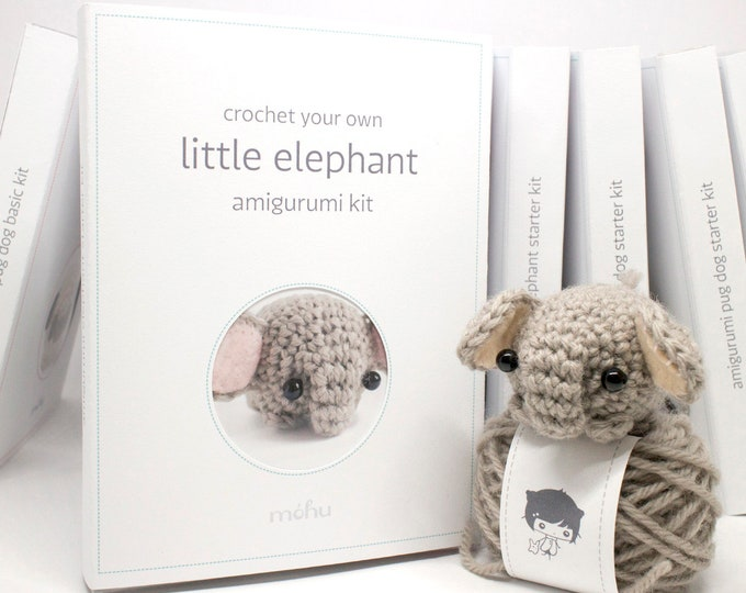Featured listing image: crochet kit - amigurumi elephant diy craft kit