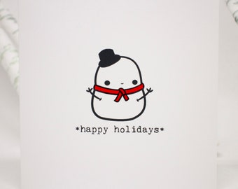 Happy Holidays card with cute snowman