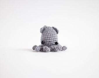 crochet squid plush - miniature amigurumi animal