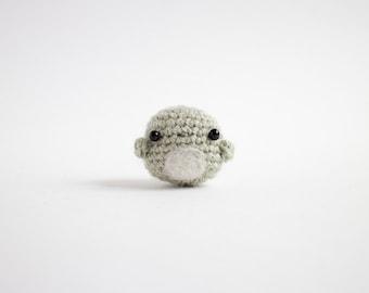 mini green bird amigurumi - miniature crochet animal art