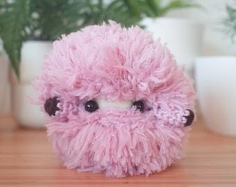 Fluffy purple monster plush - pastel purple handmade stuffed toy