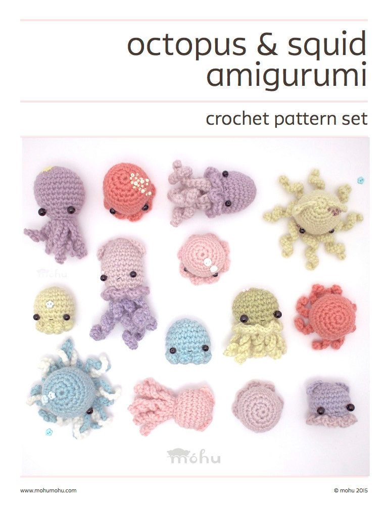 Crochet Pattern Octopus Squid Jellyfish Amigurumi Pattern