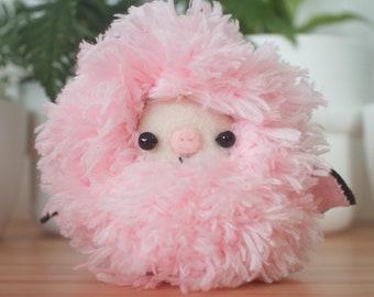 Fluffy pink bat plush toy - pastel kawaii stuffed animal
