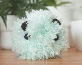 Fluffy green sea bunny plush - pastel mint green sea slug toy