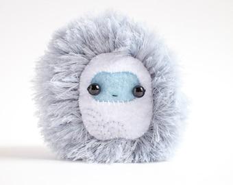 fluffy blue monster plush - handmade stuffed toy