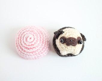 amigurumi pug in a cupcake - crochet plush toy