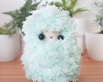 Mint green llama plush - fluffy alpaca stuffed toy
