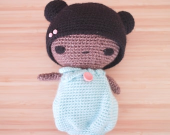 OOAK crochet doll with mint green dress and pink vintage button detail