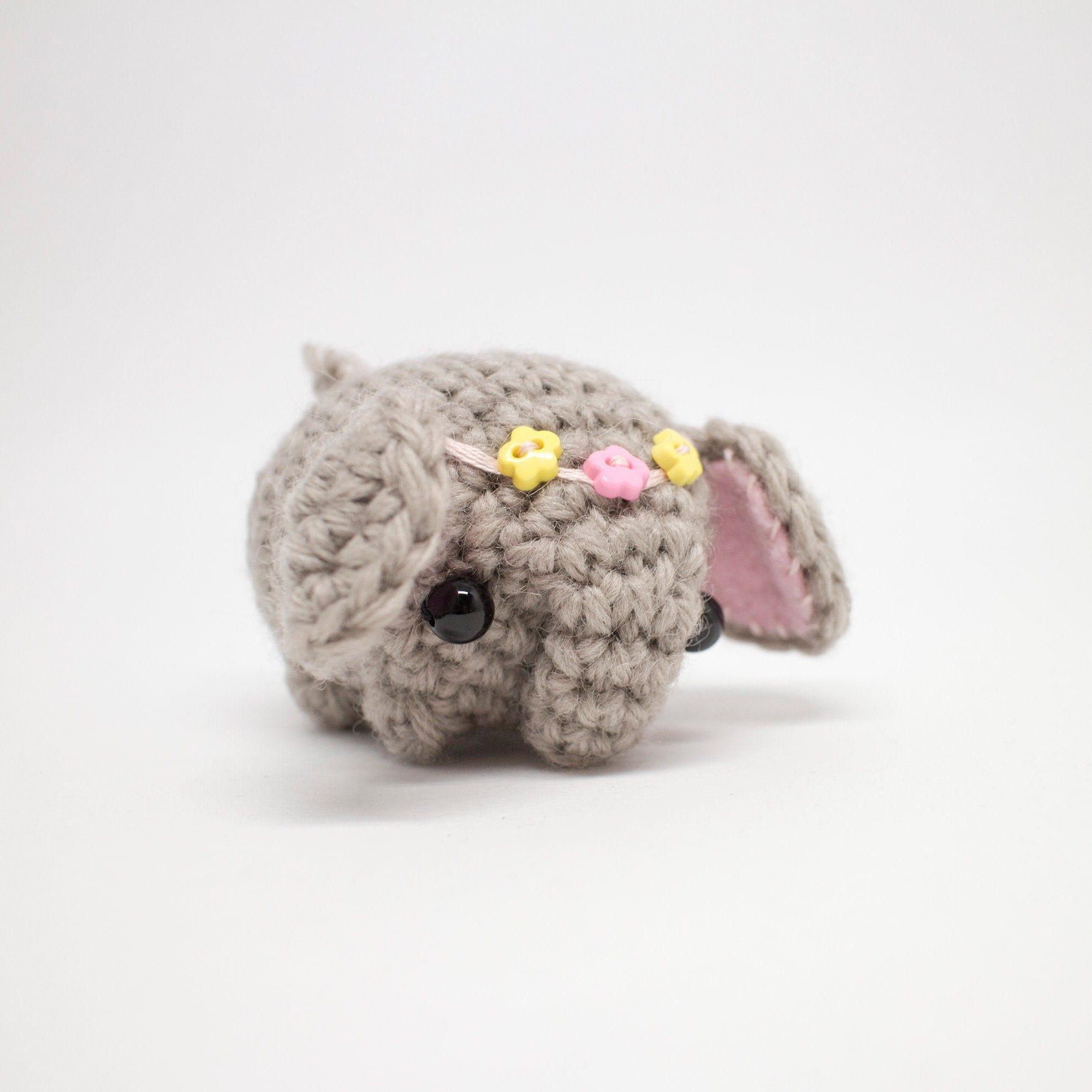 $23.72 mini elephant, crochet elephant, miniature elephant, little ... | 2000x2000