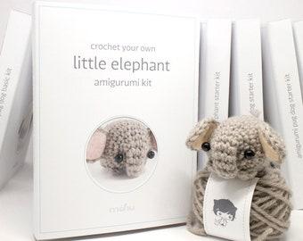 crochet kit - amigurumi elephant diy craft kit
