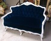 Items Similar To Blue Velvet Loveseat Navy Blue White