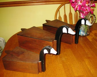 3 Homemade Vintage Wooden Duck / Goose Boxes