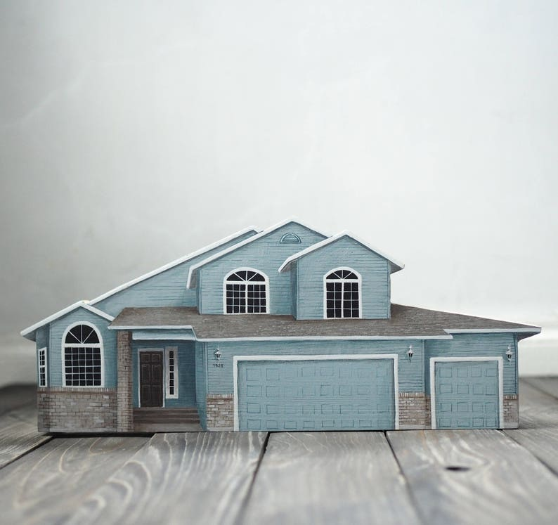 Astounding House Portrait Hand Painted Wooden House Miniature Houses Houses Personalized Bespoke House Miniaturized Download Free Architecture Designs Scobabritishbridgeorg