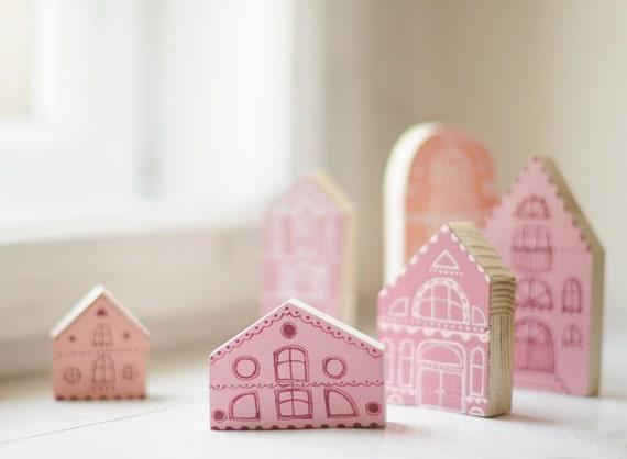 Set Von 6 Hand Bemalten Holz Dorf Miniatur Hand Gemaltes Etsy