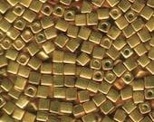 4mm Cube Beads Gold 1053 Miyuki Metallic Gold Cube Bead SB4-1053 Genuine Japanese Square Bead Beading Looming Bead Embroidery Peyote Stitch
