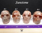 Sunstone Carved Crystal Skull