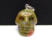 Unakite Carved Crystal Skull Pendant