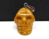 Yellow Jasper Carved Crystal Skull Pendant