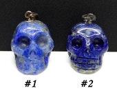 Lapis Lazuli Carved Crystal Skull Pendant