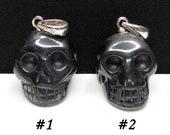 Hematite Carved Crystal Skull Pendant