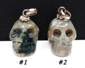 Ocean Jasper Carved Crystal Skull Pendant
