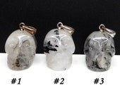 Tourmalinated Quartz Carved Crystal Skull Pendant Black Tourmaline
