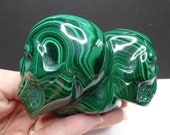 Malachite Double Skull Carved Crystal - One of a Kind - FREE US SHIPPING