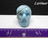 Larimar Carved Crystal Skull (FREE US SHIPPING)