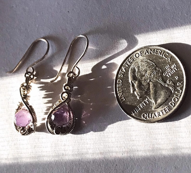 Silver Amethyst earrings,Amethyst gemstone earrings