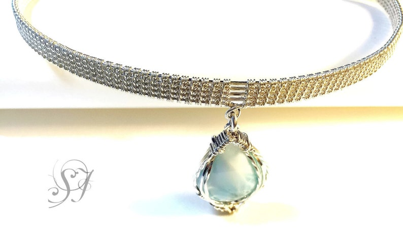 Handmade sterling silver and Larimar choker