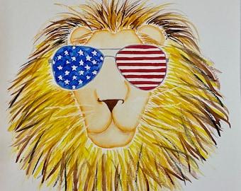 American Lion Original Painting