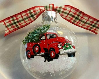 vintage red truck ornament christmas tree ornament black dog carrying christmas tree maine made