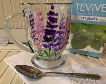 Lupine painted coffee mug, glass mug