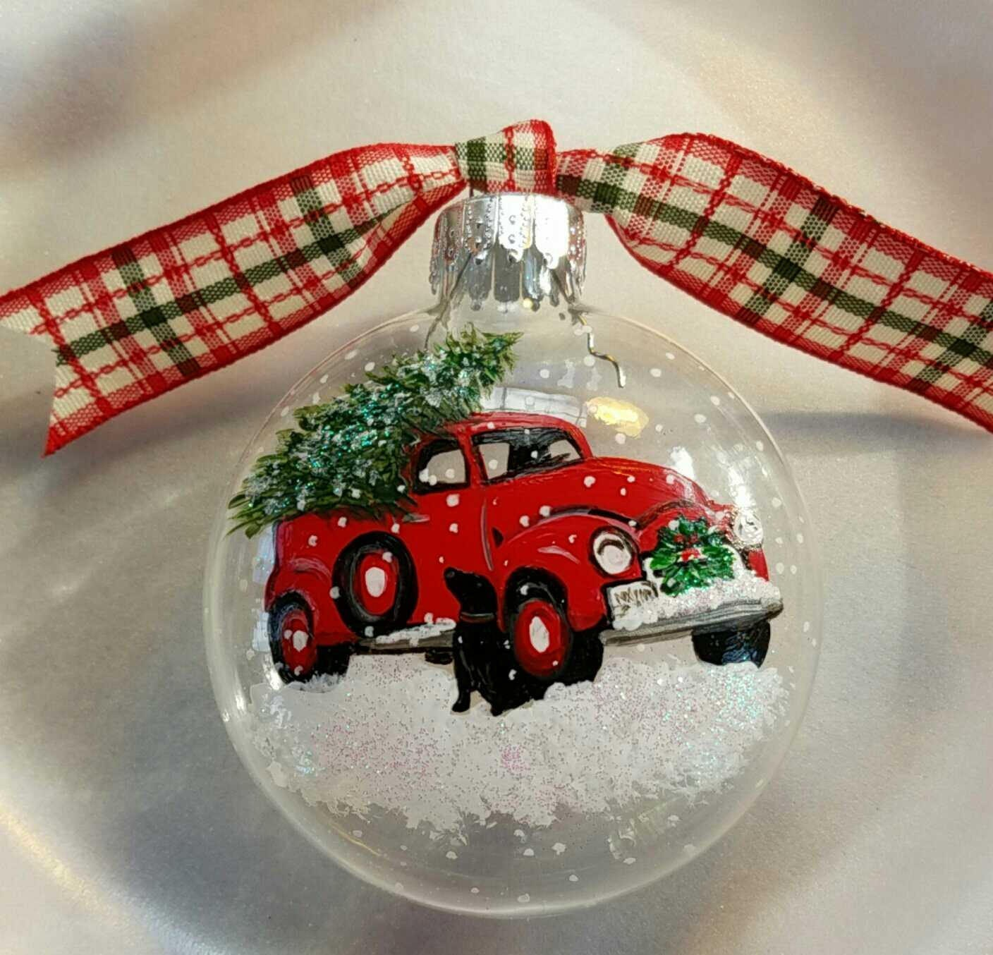 Vintage red truck ornament christmas tree ornament black ...