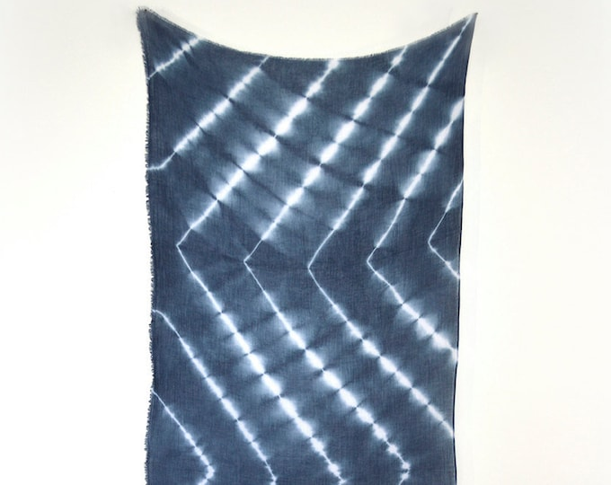 Marine Navy Blue Tie-Dye Chevron Scarf