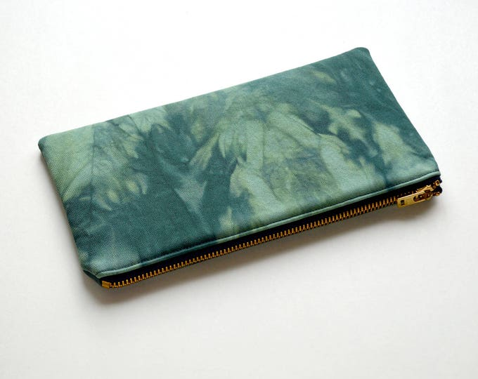 Shibori Pouch - Deep Forest Green