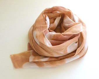 Peach Shibori Scarf - Weathered Terracotta